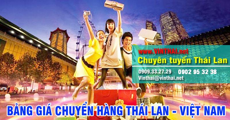 Bảng giá chuyển hàng Thái Lan về Việt Nam