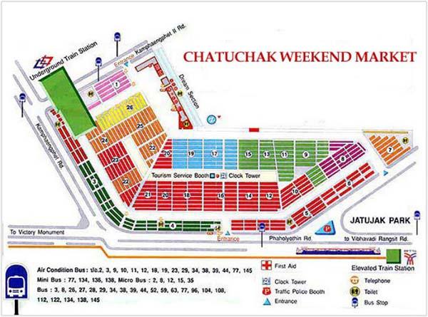 bản đồ khu chợ Chatuchak